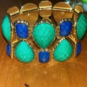 Gold green and blue elastic cuff